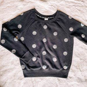 PINK VS Sequined Polka Dot Crew Sweater